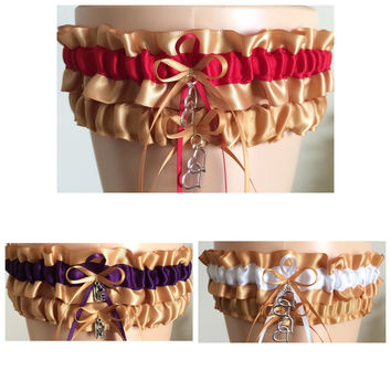Gold Bridal Wedding Garter Set, Gold Prom Garter, Other Colors Available