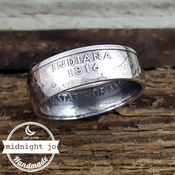 Indiana 90% Silver State Quarter Coin Ring