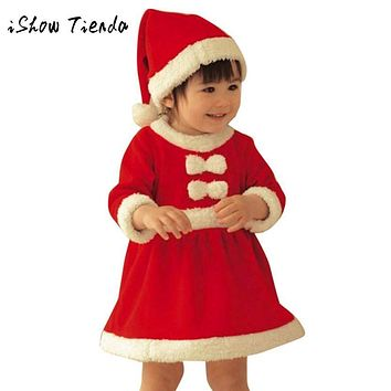 ISHOWTIENDA Toddler Baby Clothes Winter Christmas costume for Kid Bowknot Party Princess Dress+Hat Outfit 2pcs child dress Girl