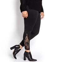 Women Slim Pants Lace Patchwork Plus Size