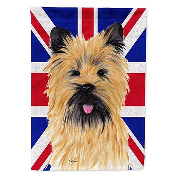 Cairn Terrier with English Union Jack British Flag Flag Garden Size