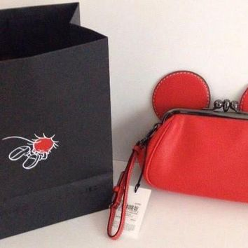 Disney X Coach Kisslock Wristlet Mickey Red Leather Limited New With Tags Bag