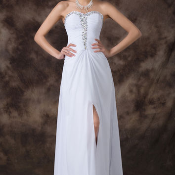 White Off-Shoulder Beaded Criss Cross Cutout Back Chiffon Maxi Dress