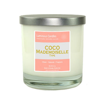 Chanel Coco Mademoiselle Type Hand Poured Soy Candle - 8 oz Rock Glass Jar Candle with Brushed Metal Lid - Coco Chanel Decor