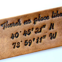 Personalized Luggage Tag Latitude and Longitude There's no Place Like Home