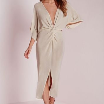 Missguided - Kimono Sleeve Knot Front Midi Dress Nude