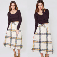 Vintage 80s White PLAID Skirt Wool Preppy Midi Skirt