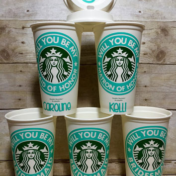 Bridesmade gift, bridesmade coffee cup, Starbucks Coffee Cup, bridal party gift, will you be my bridesmaid, starbucks tumbler, coffee cup