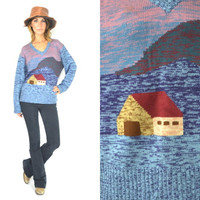knitted SPACE DYED mountain landscape NOVELTY sweater jumper, extra small-medium