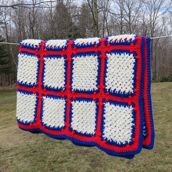"Crochet red white and blue afghan throw blanket - Vintage crochet white squares w red blue border throw afghan - July 4 home decor 62"" x 58"""