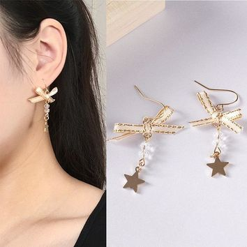fashion Delicate Gold Color Bow Knot Stud Earrings For Women brincos Cute Sweet Star Crystal Earring 2018 Mujer Earing Bijoux
