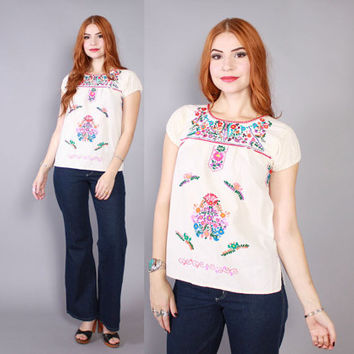 Vintage 70s Mexican TOP / 1970s White Cotton Colorful EMBROIDERED Peasant BLOUSE