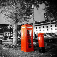 Black and White with a London Red Phone Box by HConwayPhotography