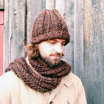 Mens chunky knit slouch hat,Winter accessories, Mens Fashion,Hand knit hats,Mens beaniehats, Ski hats,Unisex hats, Menaccessories,Warm knits