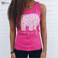 2016 New Summer Sleeveless Tshirt Casual Vest Tops Ivory Ella Elephant Sexy Girl Tees Weljuber