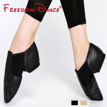 Genuine Leather Twin Gores Stretch Jazz Dance Shoes Slip-On Ballet Jazz Dancing Sneakers Black Tan Colors Unisex Free Shipping