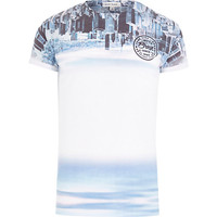 River Island MensBlue upside down skyline print t-shirt