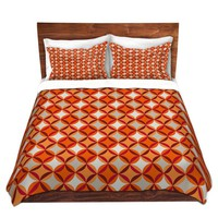 Duvet Covers and Shams By Julia Grifol Circles Red