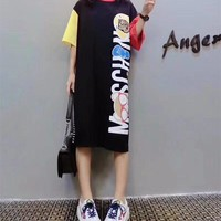 """Moschino"" Fashion Loose Casual Cute Cartoon Bear Letter Print Multicolor Stripe Short Sleeve T-shirt Dress"