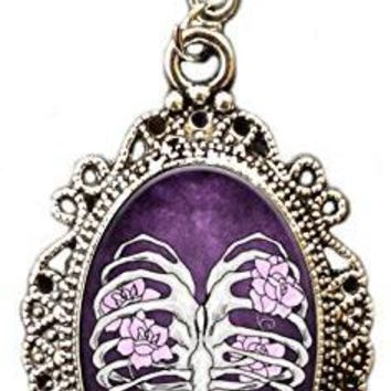 Alkemie Ribcage Heart with Flowers Cameo Pendant Necklace