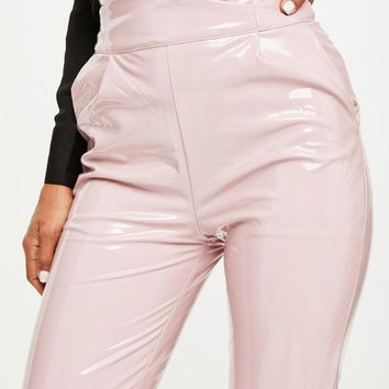 Missguided - Pink High Shine Vinyl Skinny Trousers
