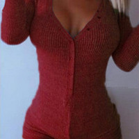 Dark Red V-neck Buttoned Front Cable Knit Bodysuit
