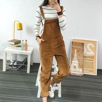 DKF4S 2017 Spring Fashion Regular Corduroy Womens Rompers Pockets Full Length Overalls For Women Bodysuit Rompers Womens Jumpsuit