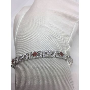 Handmade Genuine White Sapphire and Ruby Rhodium Finished Sterling Silver Bracelet