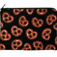 Chocolate Covered Pretzels Medium Zipper Pouch, Gadget, Cell Phone, Camera Case, Small Makeup Bag