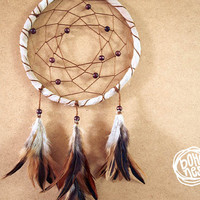 Dream Catcher - Soft Nature - With Natural Brown Feathers, Brown Frame and Wooden Beads - Boho Home Decor, Nursery Mobile