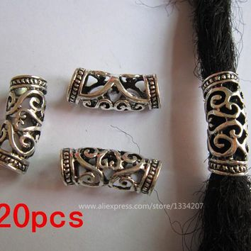 Free Shipping 20Pcs/Lot  hair braid dread dreadlock bead cuff approx 7mm hole