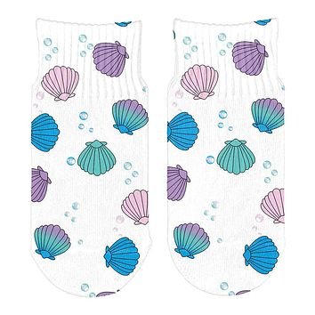 Mermaid Shells Bubbles Pattern All Over Toddler Ankle Socks