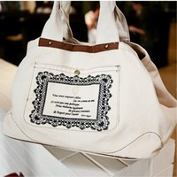 White Canvas Lace Shoulder Bag,Cheap in Wendybox.com