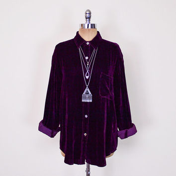 Purple Velvet Shirt Velvet Blouse Velvet Top Velvet Jacket Slouchy Oversize Shirt Button Up Shirt 90s Shirt 90s Grunge Shirt Gypsy S M L