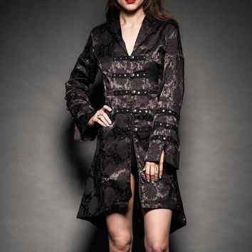 Black Floral Brocade Victorian Jacket
