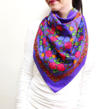Floral Cotton Scarf, Multicolor Scarf, Square Scarf, Scarf With Flowers, Purple Pink Orange Green
