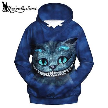 [You're My Secret] Fashion Alice Cat 3d Print Women Hoodies Sweatshirts Sudaderas Mujer Female Supreme Casual Hooded Wonderland