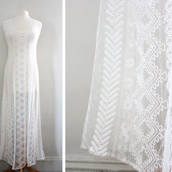 Vintage 90s Sheer Tribal Inspired Maxi Dress - Grunge Hipster Lace Embroidered Dress - Bridal Wedding Gown - Size Small to Medium