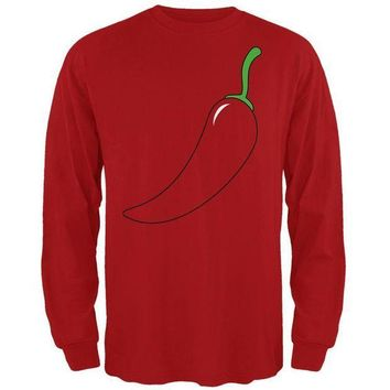 PEAPGQ9 Halloween Chili Pepper Costume of Cinco de Mayo Mens Long Sleeve T Shirt