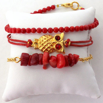 3 layered friendship bracelet set with Gold Plated Owl and coral beads