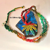 Rasta Marijuana Leaf Necklace~Inspired by Bob Marley~Rastafarian~Hippie Style~Lollapalooza~Reggae ~Cannabis~Summer Party~Summer Outdoors