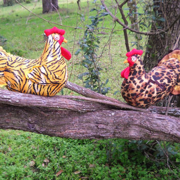 25% OFF Tiger chicken & Leopard chicken pair - made to order - save on two!  Life-size chickens, realistic comb and wattle, quilted wings an
