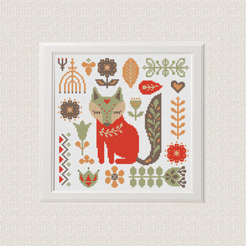 fox cross stitch pattern pdf baby Nursery decor nature flowers cross stitch folk Woodland Animals unique baby gift needlecraft