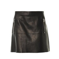 Captation A-line leather skirt