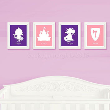 Girl Knight Nursery Decor | Geeky Nursery prints | Geeky kids room poster | Kids room decor | baby shower gift | custom color available