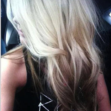 """Ombre Hair Extensions, Blonde Dip Dye,opper,Tie, Red Brown, Dye, clip in hair extensions, 7 Pieces, Double Wefted, 22"""""""