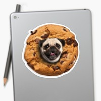 'Pug Chocolate Chips Cookie' Pegatina by Lostanaw