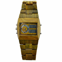 Eco-Friendly Sandalwood Digital & Analog Wood Watch - All Wood, custom made for our store