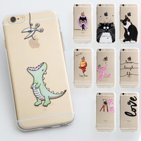 Lovely Portuguese Funny Words Animal Cat Owl Printing Soft Silicone Transparent Case For iphone 5 5s SE 6 6S plus TPU phone case
