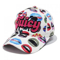 Chic Letter Shape Embellished Colorful Lips Teeth Pattern Visor For Women
